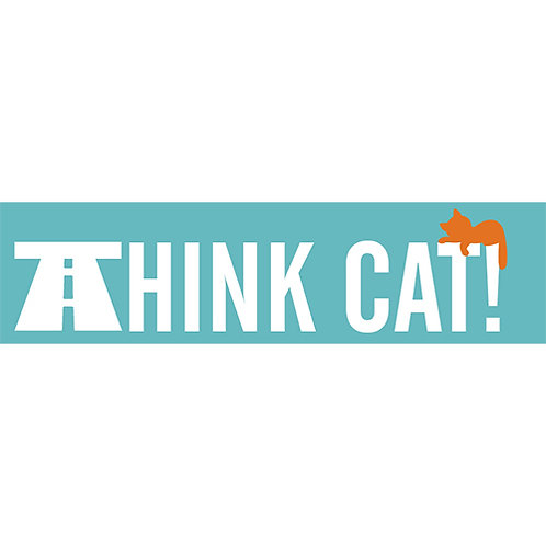 'Think Cat' Car Window Sticker (In & Outside options)
