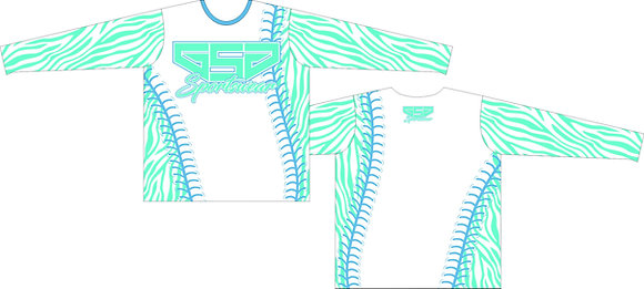 GSG ZEBRA PRINT FULL SUB JERSEY - AQUA/BABY BLUE