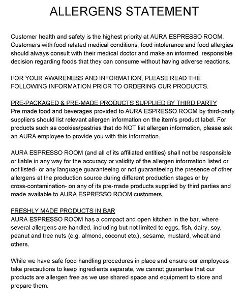 Aura Espresso Room Coffee Shop Allergen statement