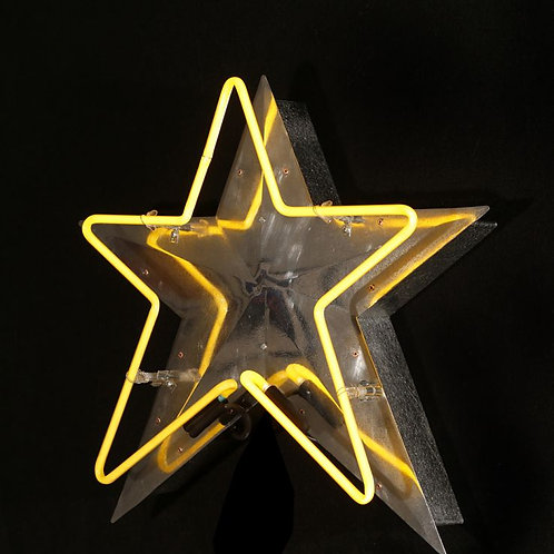 Neon Star with Metal Background