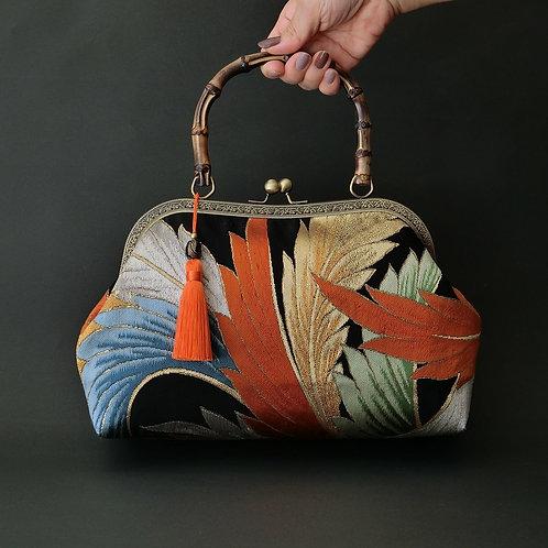 Japanese KIMONO OBI-bag,Fine silk, Made in JAPAN ,party bag, 2way bag,clutch bag