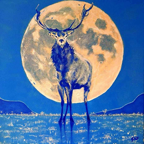 Moon Stag canvas print