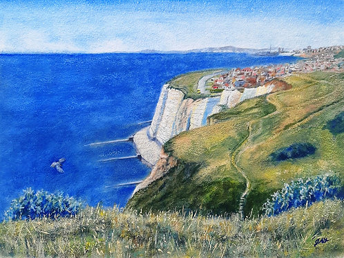 Rushey Hill Peacehaven looking across to Brighton paper print