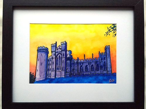 Arundel Castle against a Yellow Sky Framed Original Mixed Media