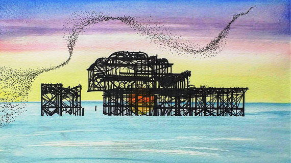 West Pier with Murmuration at Sunset II