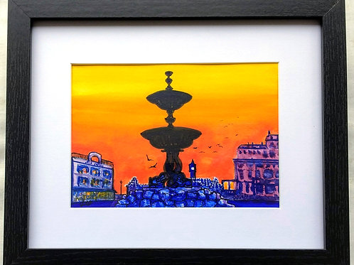 The Victoria Fountain against a Red Sky Framed Original Mixed Media