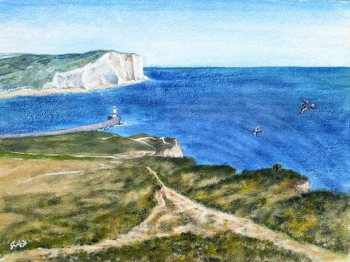 Rushey Hill Peacehaven looking across to Seaford Head canvas print