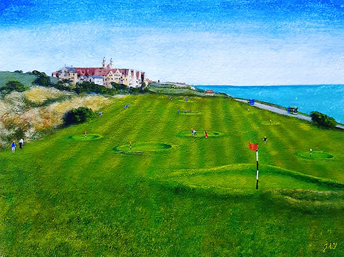 Roedean School from the edge of the Mini Golf Course paper print