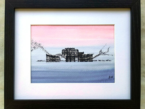 The West Pier with Starling Murmuration Framed Original Mixed Media