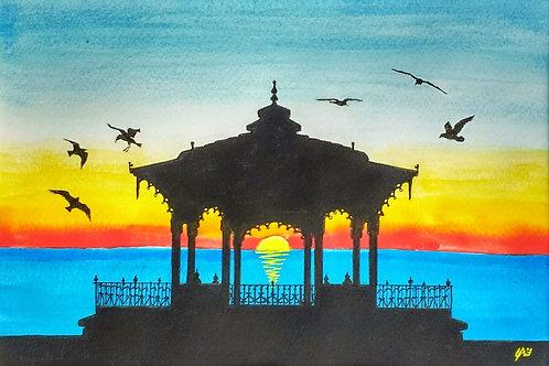 The Birdcage at Sunset II Original Mixed Media