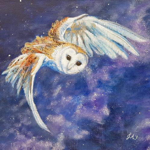 Milky Way Barn Owl paper print