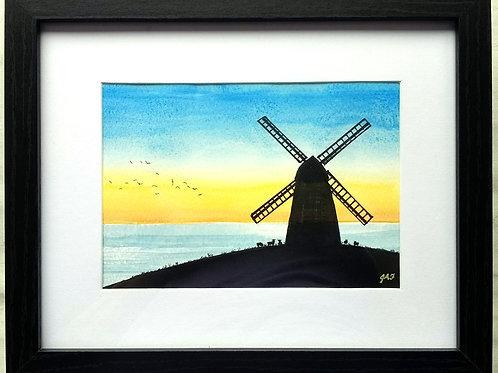 Rottingdean Windmill Framed Original Mixed Media