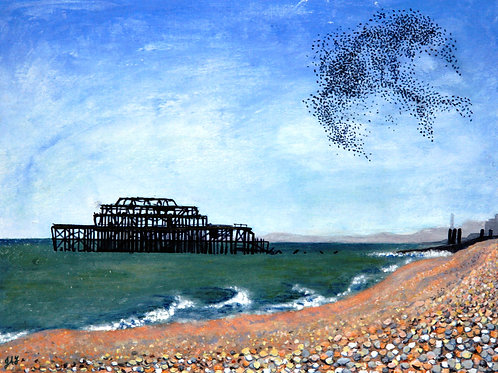 The West Pier with Starling Murmuration Fine Art Print