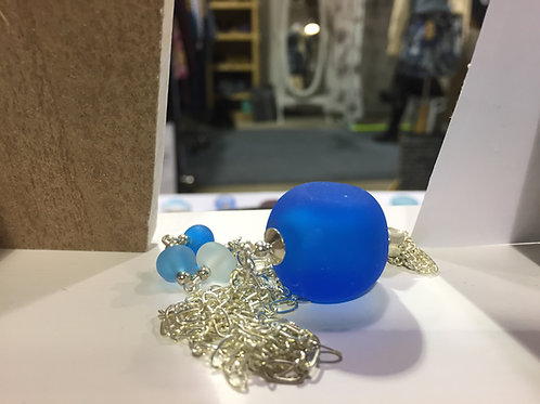 Sky Blue Pebble Pendant Necklace