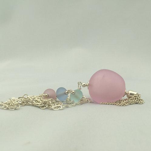 Pink Pebble Pendant Necklace
