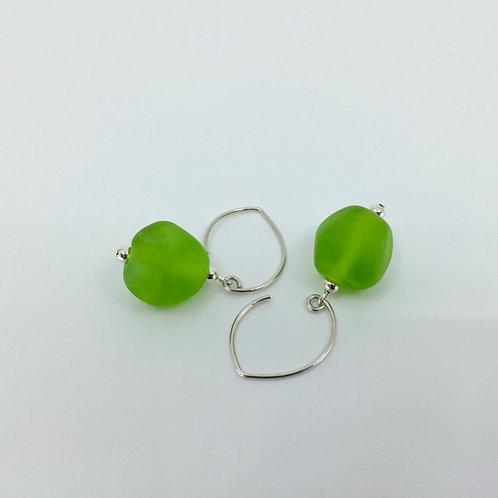 Lime Green Pebble Earrings