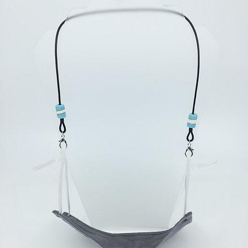 Mask Keeper turquoise stripe barrel beads