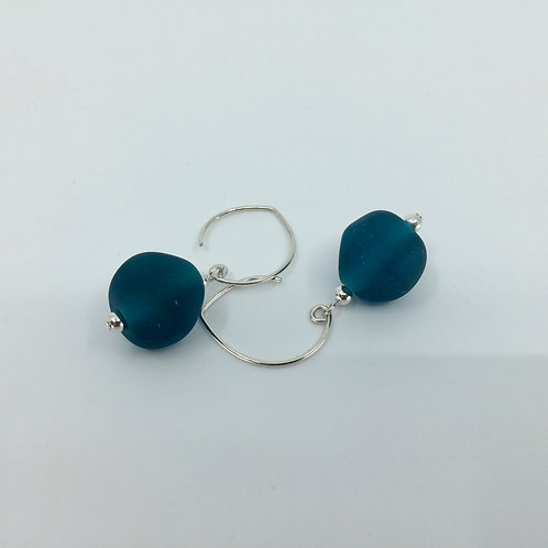 Teal Pebble Earrings