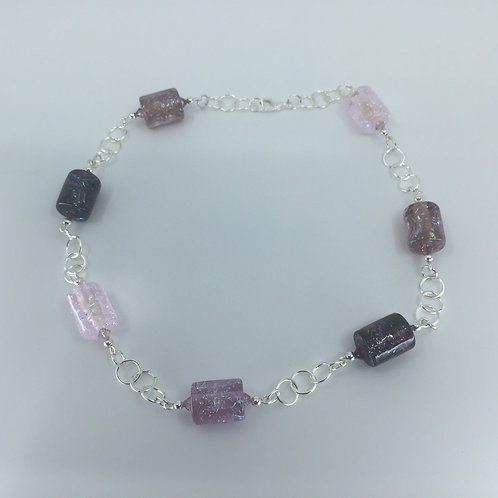 River Ice Necklace, shades of purple