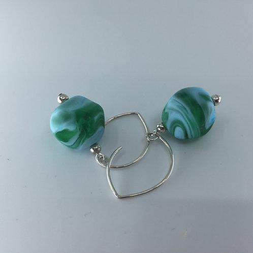 Green/Turquoise Swirl Pebble Earrings