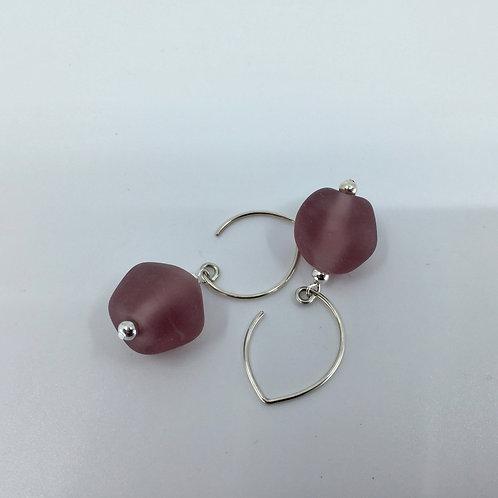 Purple Pebble Earrings
