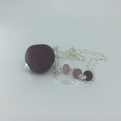 Deep Purple Pebble Pendant Necklace