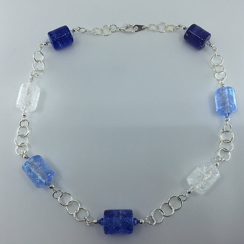 River Ice Necklace, shades of blue