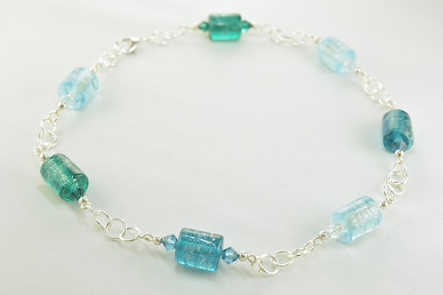 River Ice Necklace, shades of green