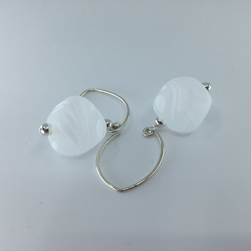 White Swirl Pebble Earrings
