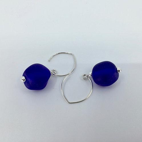 Cobalt Blue Pebble Earrings