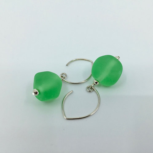 Grass Green Pebble Earrings