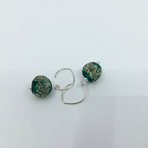 Teal Sandy Pebble Earrings