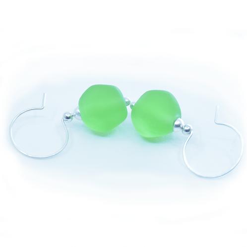 Grass Green Pebble Earrings
