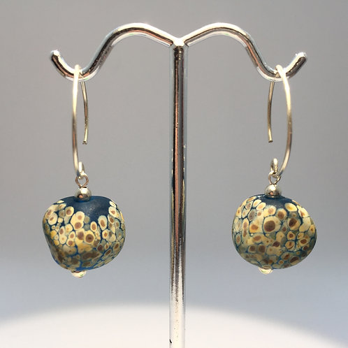 Sky Blue Sandy Pebble Earrings