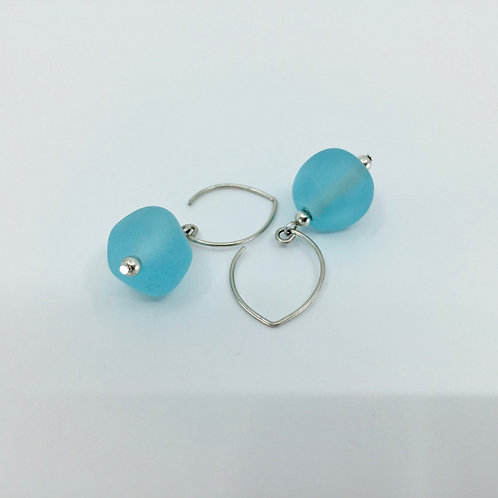 Aqua Pebble Earrings