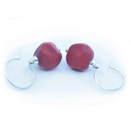 Red Pebble Earrings