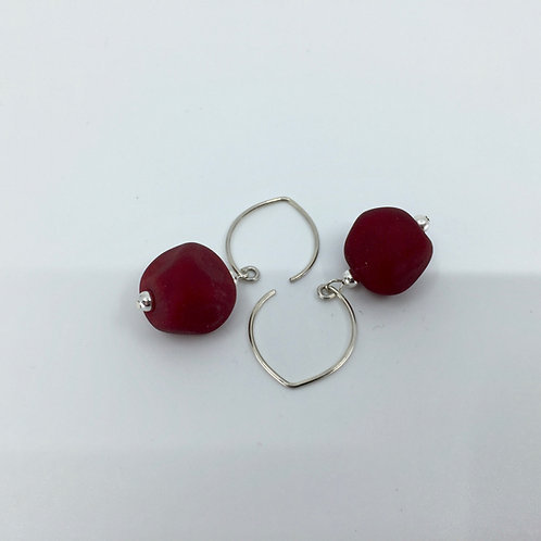 Red Pebble Earrings