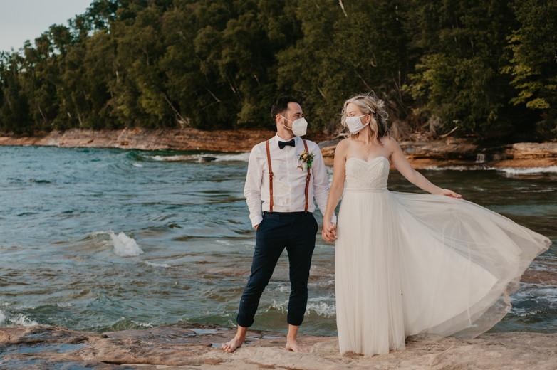 covid bride and groom michigan pictured rocks