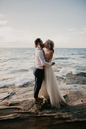 first kiss elopement vows pictured rocks elopement