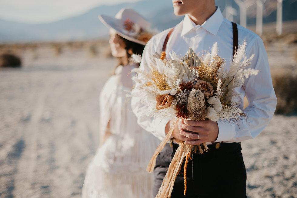 boho elopement in the desert
