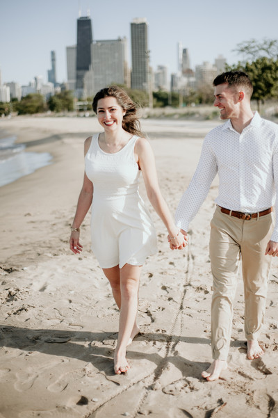 lake michigan beach engagement photography