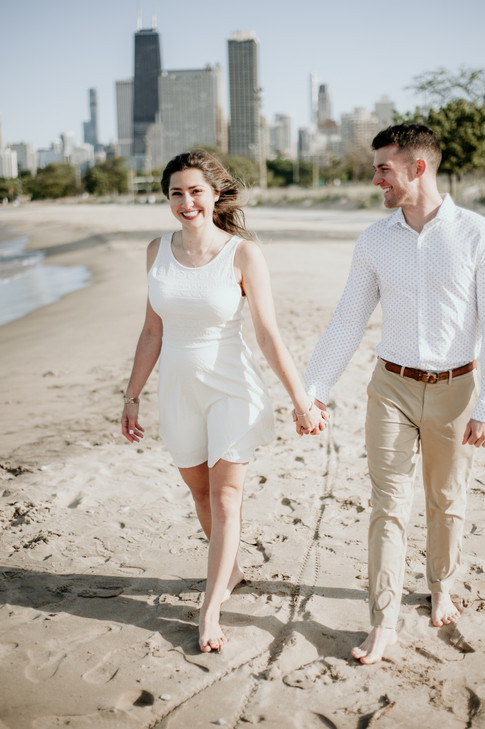 lake michigan beach engagement photography