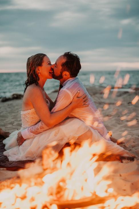 beach fire elopement