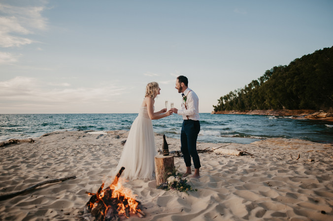 champagne toast pictured rocks elopement