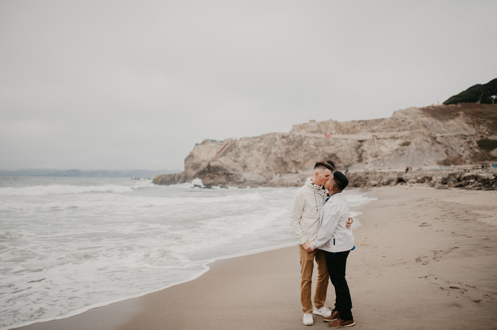 sutro baths beach engagement photographer