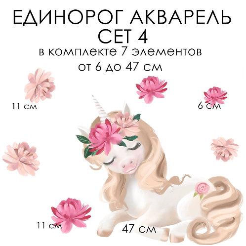Стикеры ЕДИНОРОГ АКВАРЕЛЬ сет 4
