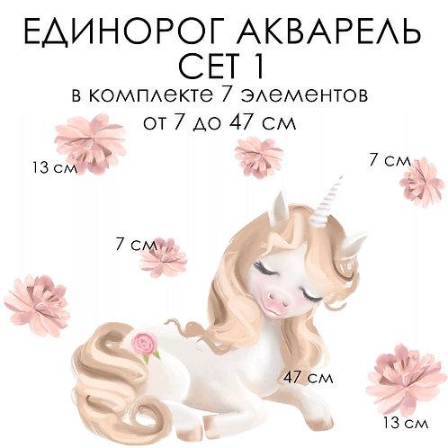 Стикеры ЕДИНОРОГ АКВАРЕЛЬ сет 1