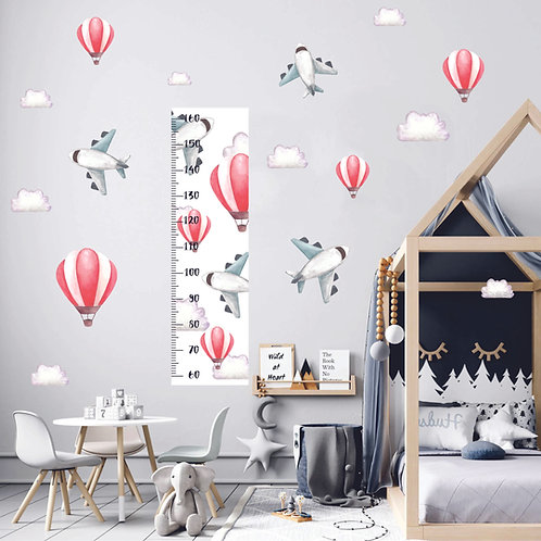 Ростомер самолеты с воздушными шарами акварель