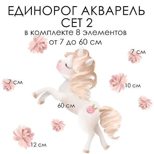 Стикеры ЕДИНОРОГ АКВАРЕЛЬ сет 2