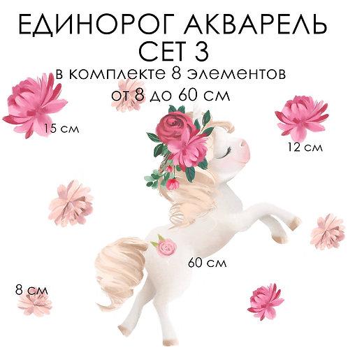 Стикеры ЕДИНОРОГ АКВАРЕЛЬ сет 3